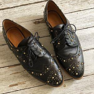 Zara Embellished Stud Loafers